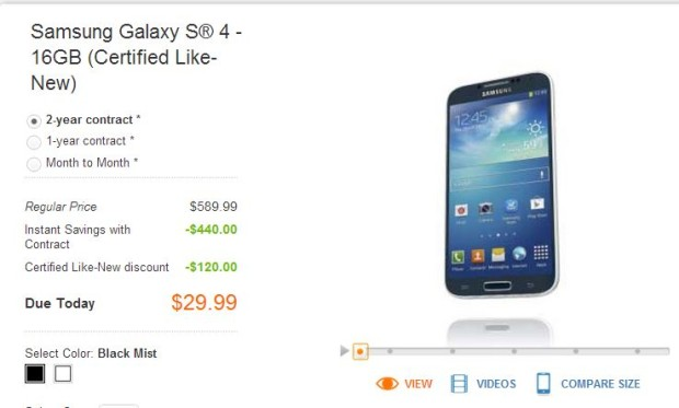 AT&T Selling Samsung Galaxy S4 for $29.99