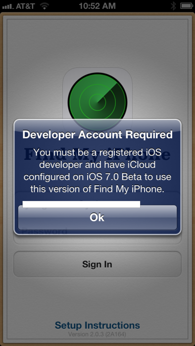 Find My iPhone updated for iOS 7, only for developers