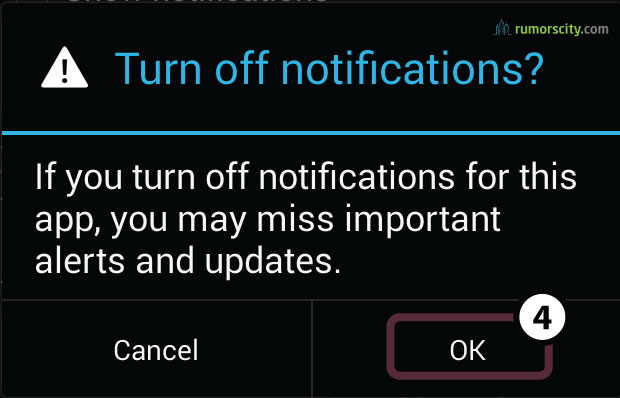 How to turn off Android push notification, like Whatsapp