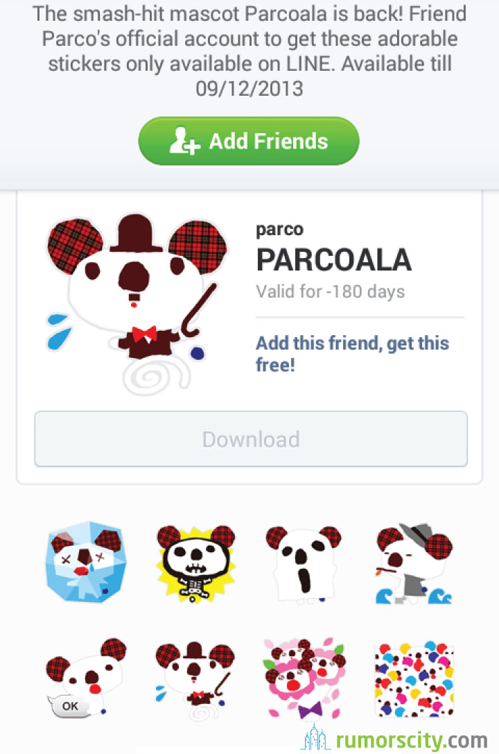 PARCOALA-Line-sticker-in-Japan