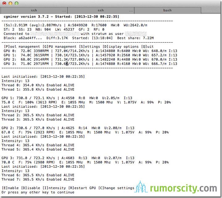 Litecoin Mining - Gigabyte Radeon R9 280X Sweet Spot for 730KHash/sec