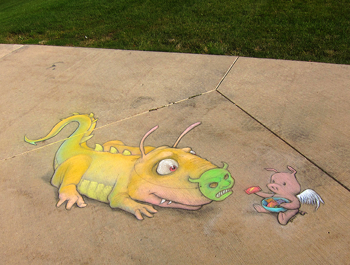 This Man Made The City More Colorful With Chalk Art-12