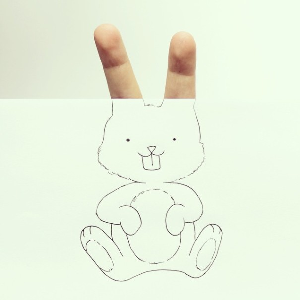 Artist Completes Drawings By Adding In His Own Fingers-08