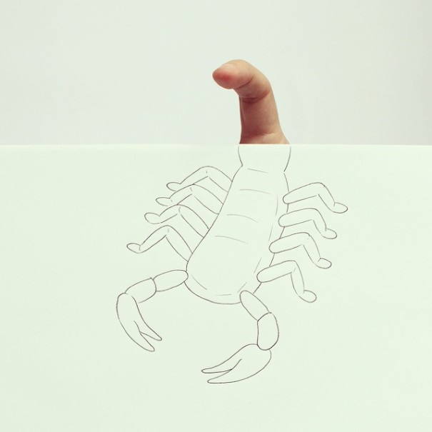 Artist Completes Drawings By Adding In His Own Fingers-09