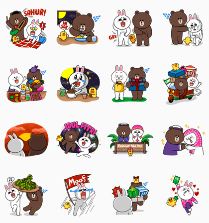 Brown & Cony: Ramadhan Special Line Sticker - Rumors City