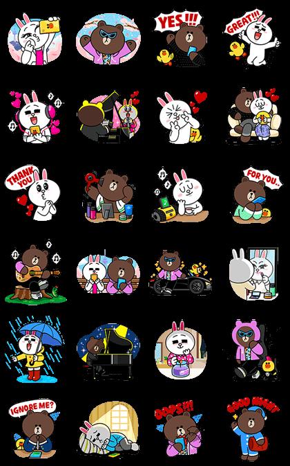 Brown & Cony's Love Drama Line Sticker - Rumors City